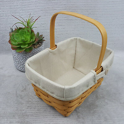 Longaberger 10 x 6.5 x 5.5 Rectangle Basket w/Handle and Liner 2002