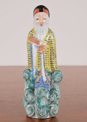 Chinese Porcelain Figurine Statue of an Old Man in Famille Jaune Enamels Antique