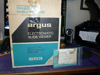 Vintage ARGUS Film Viewer Automatic SLIDE PROJECTOR Model 693 ELECTROMATIC Works