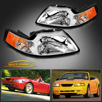 Chrome Housing Headlights For 1999-2004 Ford Mustang Pair Replacement Left+Right