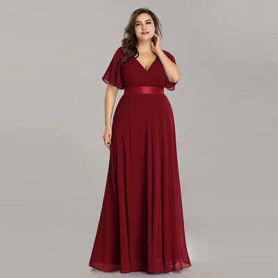 Ever-pretty US Plus Size Double V-neck Formal Party Prom Burgundy Christmas Gown