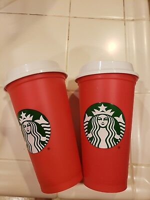 2 Starbucks 2018 Reusable Red 16oz Traveler Drinking Cup with DRINK DISCOUNT