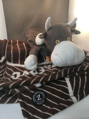 "NWT LOVESAC ""KOBE"" THE COW PILLOW and BLANKET by ZOOBIES"