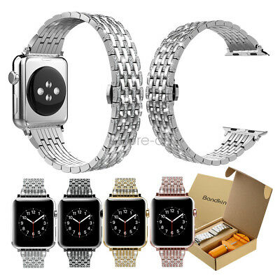 Rhinestone Diamond Stainless Steel Watch Band for Apple Watch Strap 44mm 42mm