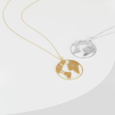 Fashion World Map Necklace Hollow Round Pendant Long Chain Women Charm Jewelry