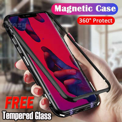 For Huawei Mate 20 20 Pro & Nova 3e 3i Magnetic Metal Tempered Glass Case Cover