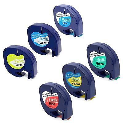 6PK Compatible DYMO Letra tag Refills Plastic Label Tape 91330 91331 91332 91333