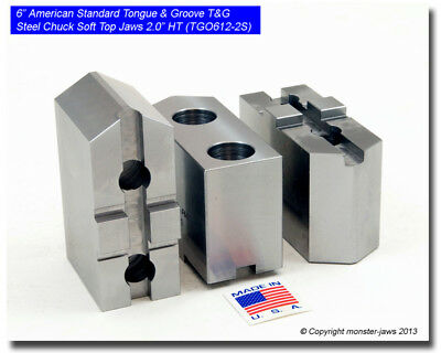 """6"""" American Standard Tongue & Groove T&G Steel Chuck Soft Top Jaws (2.0"""" HT)"""