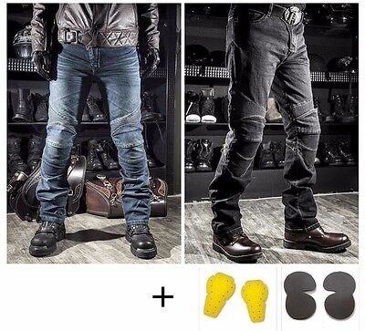 KOMINE Motorcycle Biker Distressed Pants Denim Jeans Trousers Protection Pads