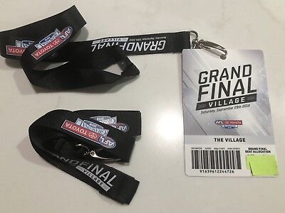 2018 AFL GRAND FINAL WEST COAST Vs  COLLINGWOOD LANYARD X 2 AND 1 USED PASS