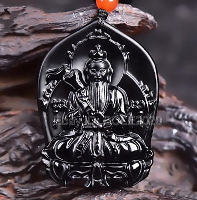 Natural Black Obsidian Carved Chinese Ancient God Lucky Pendant + Beads Necklace