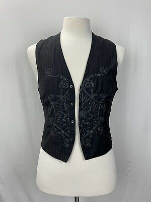 English Laundry Vest Small Grey Embroidered Striped Workwear Career