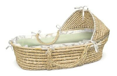Baby Infant Newborn Natural Hooded Moses Basket w/ Sage Gingham Bedding NEW
