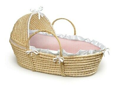 Natural Baby Infant Newborn Moses Basket w/Hood Pink Gingham NEW