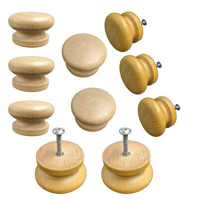 Large Wood Door Knob Wooden Round Cupboard Drawer Pull Handle 36mm 10PCS WE9X