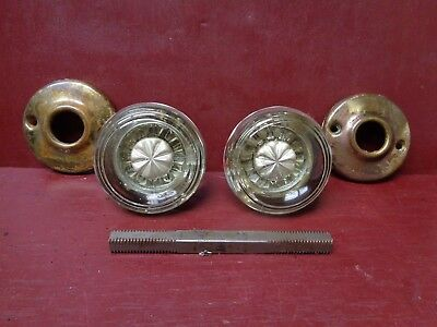 EARLY 1900's ANTIQUE NICE SILVERED CENTER GLASS DOOR KNOBS & ROSETTES #3