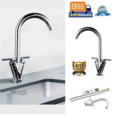 Kitchen Sink Mixer Tap Swivel Spout Mono Twin Lever Chrome Faucet StainlessSteel
