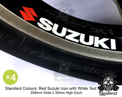 Suzuki Wheel Rim Stickers x4 Decals GSX-R 750 600 1000 GSF Bandit  36 COLOURS!