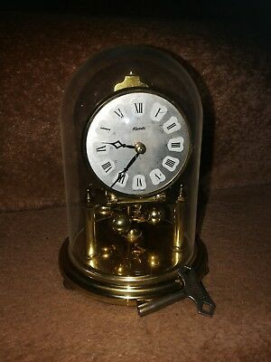 German Kundo dome Pendulum Brass Mantel Clock for Repair with key