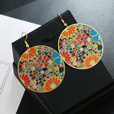 Women Retro Vintage Boho Big Round Chip Metallic Party Earrings Ear Hook Drop Z