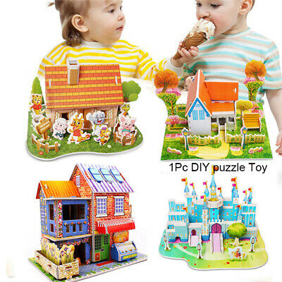 3D DIY Puzzle Jigsaw Baby toy Kid Early learning Castle Construction New