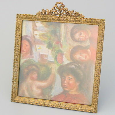 19C Antique French Gilt Bronze Ormolu Photo Picture Frame Gold Easel Stand Ring