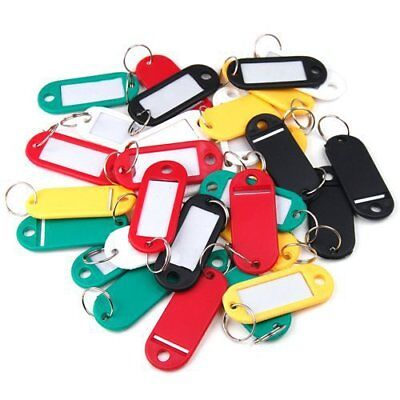 10/50/100Ps Plastic Key ID Tag Luggage Name Label Tag Card With Ring Keyring