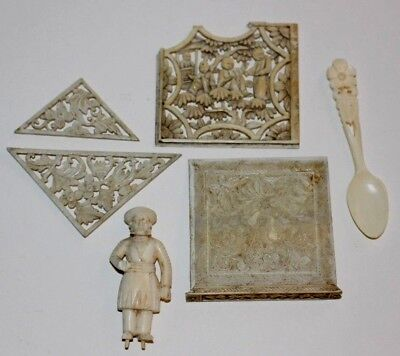 Collection Of Vintage / Antique Oriental Chinese Natural Carved Cow Bone Items..