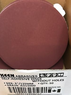 "Box of 50- 1500 Grit 5"" PSA Tabbed Paper Sanding Disc KEEN ABRASIVES 36147"