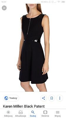 Karen Millen Dress 10 Black Patent Leather Inset Zip Front new with tag