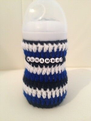 hand crochet PERSONALISED baby bottle cover tomme tippee, avent Dr brown MAM Nuk
