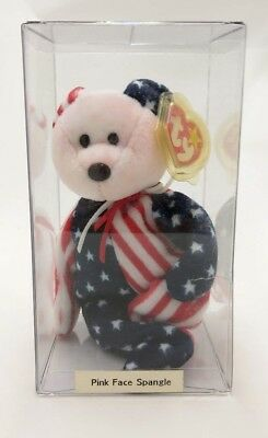 """Vintage 1999 Ty Beanie Baby """"SPANGLE"""" The USA Bear """"Pink/Red Face"""" MWMT Retired"""