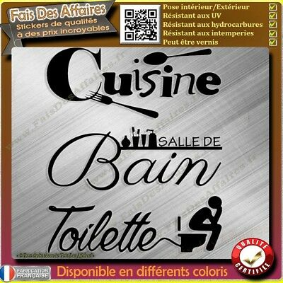 lot 3 stickers autocollant cuisine salle de bain toilette décoration porte decal