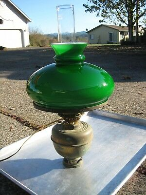 Antique Hanging Light Brass & Green Glass English Aladdin   Converted