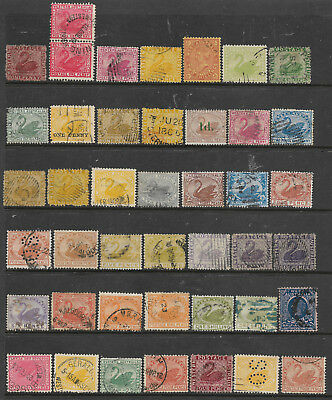 Western Australia Good Range 43 Old Stamps, Valuable Group Used & No Reserve