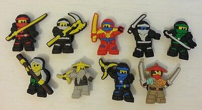 9 x Lego Ninjago Shoe Charms for Crocs Jibbitz Wristbands Ninja Lego Movie Croc