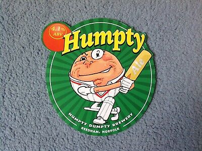 Humpty Dumpty Brewery Norfolk Humpty Ale Beer Pump Clip