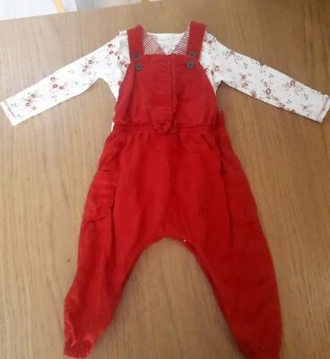 Girls 12-18 Month Red Dungaree Outfit Next