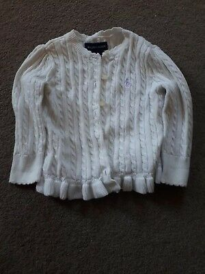 Baby Girls Ralph Lauren Cardigan 18months, White, cable knit