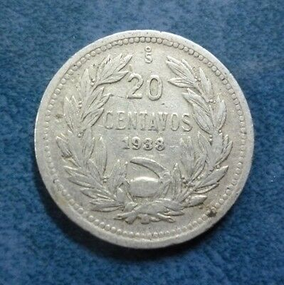 CHILE COIN 20 Centavos, KM167.3  VF+ 1938