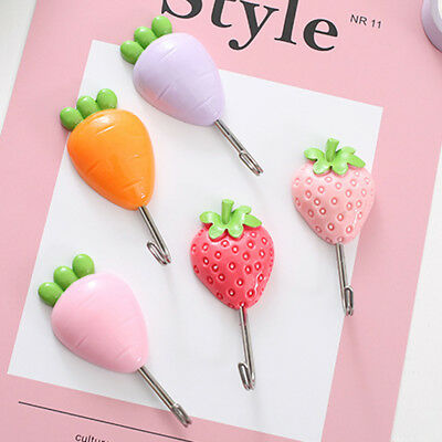Colors Fruit Self Adhesive Sticky Stick On Hooks Kitchen Bathroom Towel Hanger Z