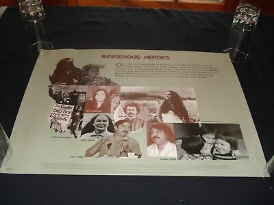 """1996 Poster """"INDIGNOUS HEROS"""" American Indian Movement  18"""" X 24"""""""