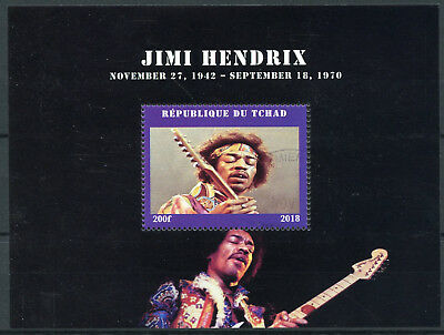 Chad 2018 CTO Jimi Hendrix Electric Guitars 1v M/S Music Famous People Stamps