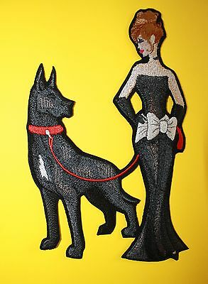 """Great Dane Dog & Lady Embroidered Patch Approx Size 4.5""""x6.5"""""""