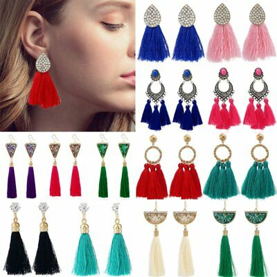 Women Boho Long Tassel Ear Stud Bohemia Earrings Rhinestone Hook Dangle Drop