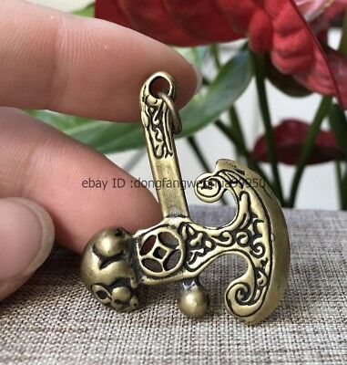 Chinese Bronze Brass Wealth Mouse Animal Axe Exorcise Evil Amulet Pendant