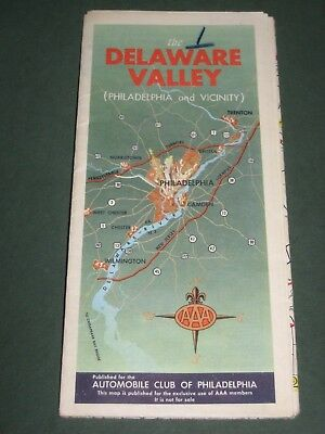 Vintage AAA Road Map - The Delaware Valley 1955