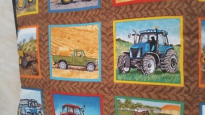 "Boys Room/nursery/playroom Farm Tractor Machinery Cushion Brown/multi 10"" X 12"""