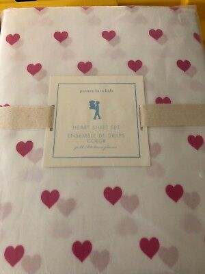 NWT Pottery Barn Kids Heart full sheet set bright pink 4pc