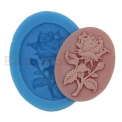 Rose Flower Cabochon Silicone Mold For Resin Jewelry Crafts 38x28mm Cameo